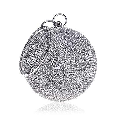 Tngan Ball Shape Clutch Purse Party Handbag Rhinestone Ring Handle Evening Bag Silvery
