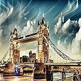 QHZSFF Pintar por Numeros Adultos Puente de Londres Kit de Pintura al óleo de Bricolaje para niños Principiantes,Lienzo preimpreso de con Pinceles y Pigmento acrílico 40x50cm-Sin Marco