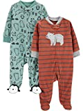 Simple Joys by Carter's Baby-Jungen 2-pack Fleece Footed Sleep and Play Schlafstrampler, Bär/Gemischt, Preemie (Frühchen)