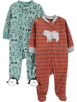 Simple Joys by Carter s Boys  2-Pack Fleece Footed Sleep and Play Bear/Mixed 0-3 Months
