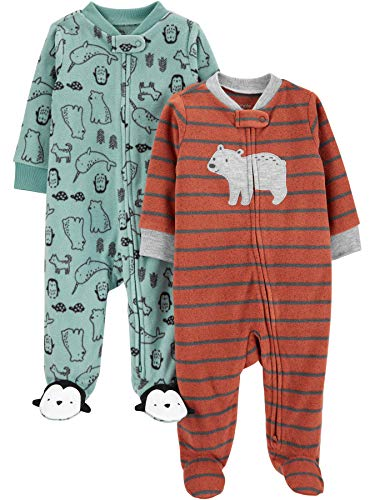 Simple Joys by Carter's Boys' 2-Pack Fleece Footed Sleep and Play, Bear/Mixed, 0-3 Months