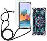 Funda con Cuerda para Xiaomi Redmi Note 10 5G/Xiaomi Poco M3 Pro 5G + Protector de Pantalla Cristal Templado, Carcasa Silicona Antigolpes Case Dibujo Mandala con Correa Colgante de Cuello Negra