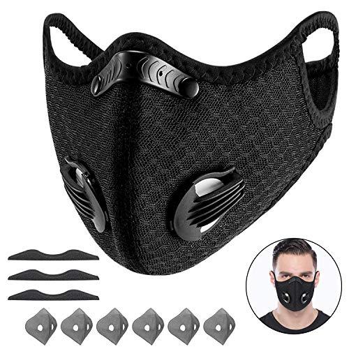 Yeswell 100 Packs Staubmaske Fahrrad Maske mit 6 Aktivkohlefilter Baumwolle und 2 Auslassventilen Allergie Maske Gesichtsschutz Staubdicht Maske für Radfahren Laufen Fitness Outdoor-Aktivitäten