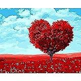 clockfc Painting by Numbers DIY Set de Pintura al óleo con Pincel para Adultos Niños Principiantes Pintura sobre Lienzo Love Heart Tree 40x50cm (con Marco)