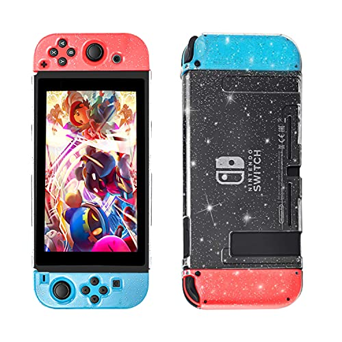 MAPP4 Dockable Protective Glitter Case Compatible with Nintendo Switch, Anti-Scratch and Shock Absorption with Crystal Glitter Design for 2017 Switch, Clear Case for Switch, Gift for Gamers
