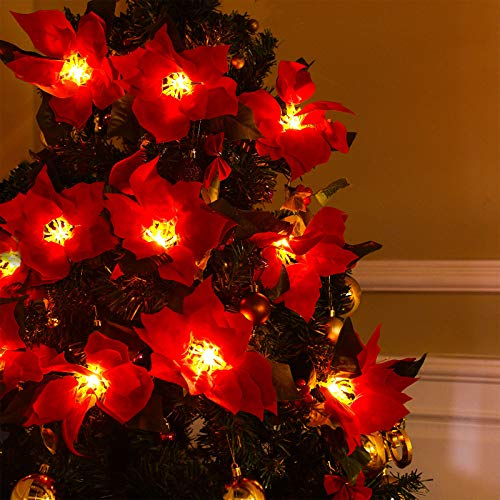 Artificial Poinsettia Christmas Garland with Red Berries and Holly Leaves Christmas LED String Light 7.5 Feet 10 Lights Christmas Red Flower Garland Xmas New Year Decoration Christmas Tree Decoration