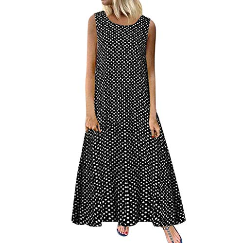 Dames retro rockabilly jurk polka dot mouwloos losse maxi-jurken vloeiende longblouse casual licht zomerjurk casual kleding avondjurk vrouwenjurk strand swing jurk