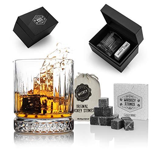 Set de regalo de whisky Glasgow para él. Juego de whisky con 12 piedras de whisky y vaso de whisky Bourbon como regalo para el marido