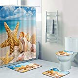 Forart 4Pcs Shower Curtain Sets Beach Theme Shower Curtains Clear Sea Water Blue Sky Starfish Shells Printed Bathroom Accessory Sets