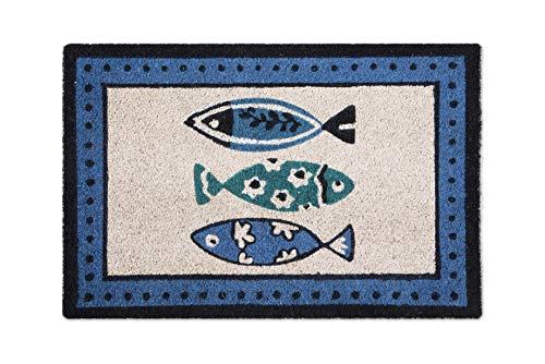 Excelsa Ocean Zerbino Ingresso, Fibra di Cocco, Blu, 40 x 60 cm