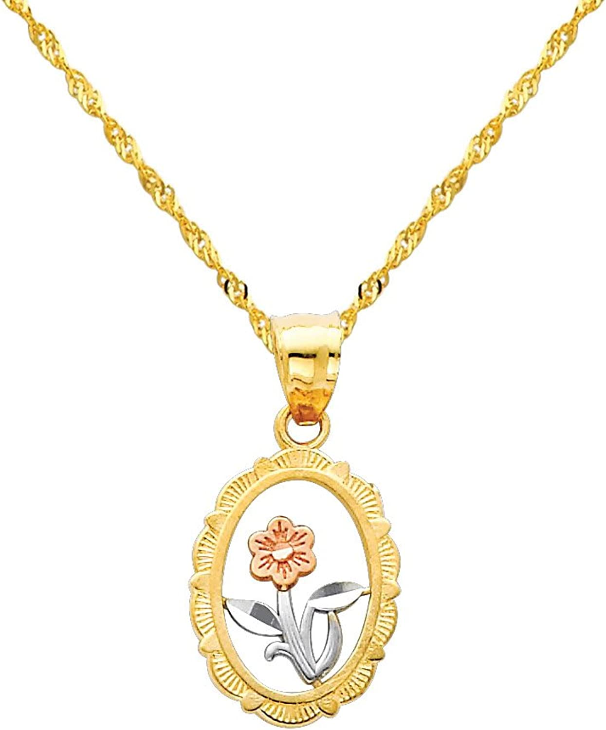 14k Tri color gold Flower Charm Pendant with 1.2mm Singapore Chain Necklace