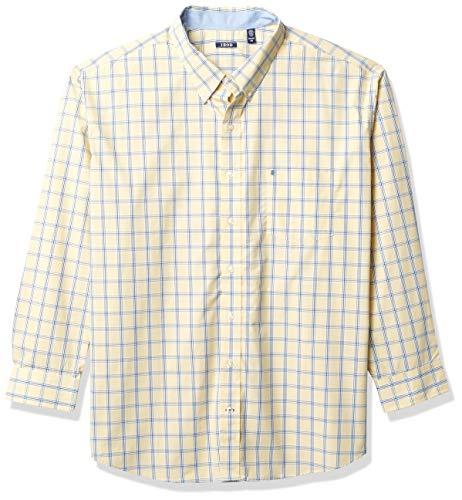 Izod Big and Tall Advantage Performance Plaid Long Sleeve Stretch Button Down Shirt Camisa Abotonada, Crema Dorada, XX-Large Grandes para Hombre