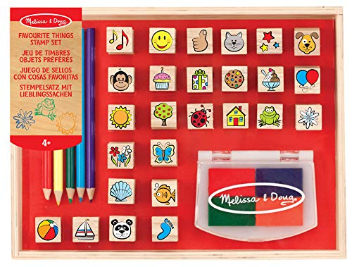 Melissa & Doug Wooden Favorite Things Stamp Set, Arts & Crafts, Sturdy Wooden Storage Box, Washable Ink, 26 Pieces, 26.543...