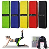 5 Resistance Bands, Booty Bands Elastic Exercise Bands for Legs and Butt with Portable Bag - Non-Slip Fabric Fitness Bands for Women, Stretch Exercise Loops for Squat, Glute, Hip Training