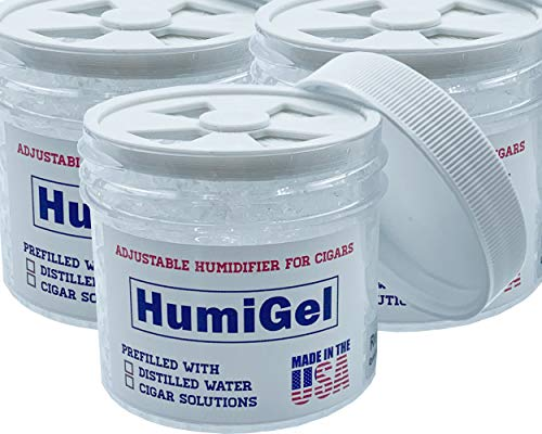 Humigel Cigar humidifier humidor Crystal Gel, 3 Pack, Adjustable from 65%-70% RH, Made in USA by HumiGel, 2021 New Version