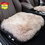Sisha-A Sheepskin Seat Cushion Cover Winter Warm Natural Wool Car Seat Covers Universal Fit for Most Car, Truck, SUV, or Van Front Cameo Brown