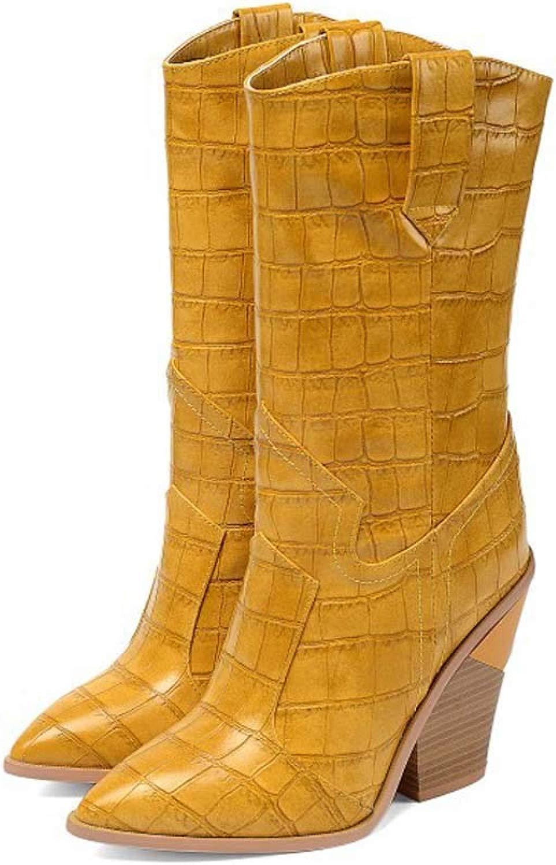 Damen Lederstiefel Stiefel in in in überGröße Damen Stiefel Mit Steinmuster,Gelb,35 392