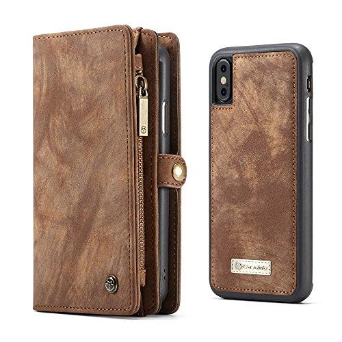 Apple iPhone 8 Case Hülle Geldbörse mit Kredit Kartenfächer [Geldscheinfach mit Reißverschluss] Premium mit abnehmbaren Magnet Handy Schutzhülle,