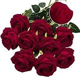 Real Velvet Roses Artificial Flowers Single Stem Fake Roses Faux Floral Bridal Wedding Bouquet, Velvet Roses Red Decor for Home Centerpieces Wedding Decor- Red Rose Bouquet