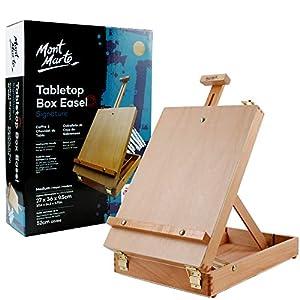 Mont Marte Caballete de mesa para pintura, Caballete de escritorio para niños adultos y artistas, madera de haya