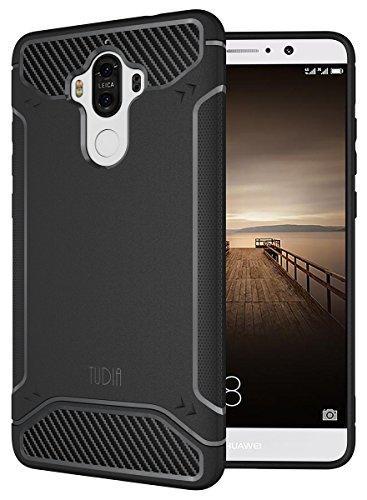 Mate 9 Case, TUDIA Carbon Fiber Design Lightweight [TAMM] TPU Bumper Shock Absorption Case for Huawei Mate 9 (Black)