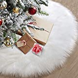 48' Christmas Tree Skirt, 122cm Snowy White Plush Velvet Decoration for Classic Faux Fur Xmas Tree Skirts, Perfect for Small to Very Large Christmas Trees, Christmas Party Tree Skirt Decorations