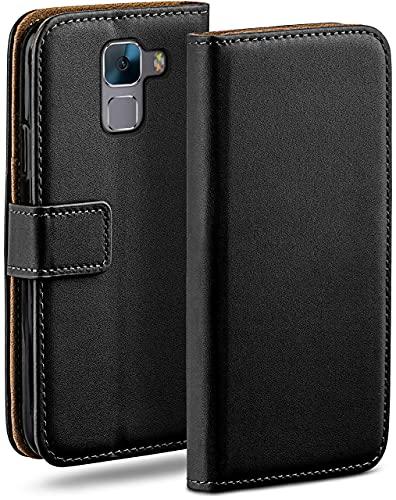 moex Klapphülle kompatibel mit Huawei Honor 7/7 Premium Hülle klappbar, Handyhülle mit Kartenfach, 360 Grad Flip Hülle, Vegan Leder Handytasche, Schwarz