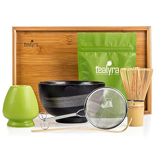 Tealyra - Matcha Kit - Connoisseur Ceremony Start Up Set - Premium Matcha Tea Powder - Japanese Made Black Bowl - Bamboo Whisk Scoop and Tray - Holder - Sifter