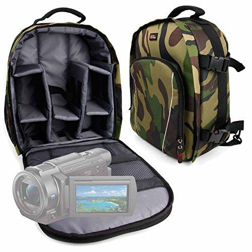 DURAGADGET Mochila Camuflaje con Compartimentos Desmontables para Cámara Sony Handycam FDR-AX33 4KUHD...