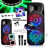 Enceinte sur batterie Party BOXER215-LED 2 x 15'/38cm 1000W à LEDs + 2 MIC sans fil - Câble PC +...