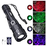 VASTFIRE USB Rechargeable Blood Tracking Light Deer Elk Hunting Flashlight - Multi-Color Search Lights XPE Red, Green, UV Blacklight and White Color Changing Lamp