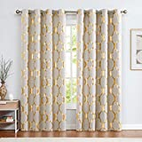 jinchan Linen Textured Curtains Moroccan Tile Foil Printed Curtain Panels Room Darkening Bedroom Living Room Thermal Insulated Window Treatment 2 Panel Drapes 84' L Gold