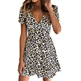 COZOCO Vestido de Mujer Sexy Leopardo Corto Mini Manga Corta con Cuello en V Vestido de Fiesta Discoteca Club de Leopardo(Blanco,XL)