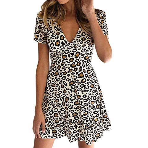 LEEDY Ladies Sexy Leopard Dress A Maniche Corte, Summer New V-Neck Stile Europeo E Americano Street Fashion Trend Mini Skirt