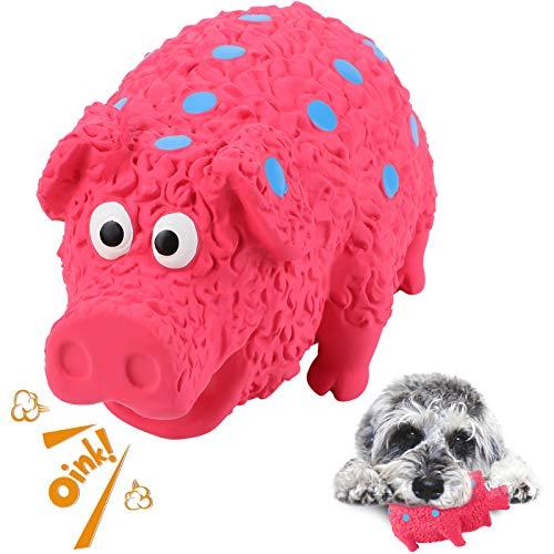 G.C Hund Kauspielzeug Quietschspielzeug unzerstörbares Hunde Schwein Spielzeug Natürliches Gummi Zahnbürste für Mittelgroße Große Hündchen (Rot, Tupfen)