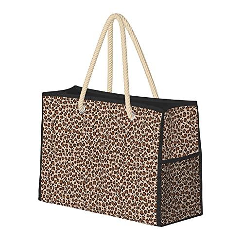 Bolsas de playa para mujer Tawny Brown Leopard Print Spots Animal Print Large Beach Tote Bolsa de almacenamiento Bolsa de viaje Bolsa de semanario Bolsa de hombro para playa, viajes y gimnasio