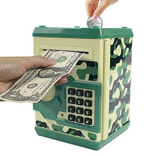 Brekya Mini ATM Piggy Bank Security Machine Best Gift for Kids,Electronic Code Piggy Bank Money Counter Safe Box Coin Bank for Boys Girls Password Lock (Camouflage Green)