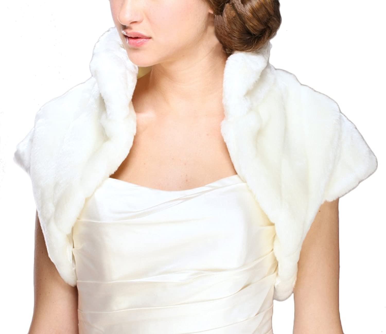 Mariell Women's 3841BO Ivory Faux Fur Pelted Bolero Jacket with Collar  Medium