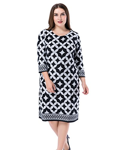 Chicwe Women's Plus Size Cashmere Touch Printed Shift Dress - Knee Length Work and Casual Dress...