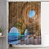 VINISATH Cortinas de Ducha,Portugal Playa Rock Mar Agua Paisaje,Cortina de baño Decorativa para baño,bañera 180 x 180 cm