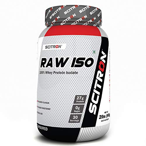 Scitron Raw ISO (100% Whey Protein ISOLATE, 27g Protein, 0g Sugar, 30 Servings, Essential & Non-Essential Amino Acids, No Flavours & Preservatives) - 2 lbs (900g)