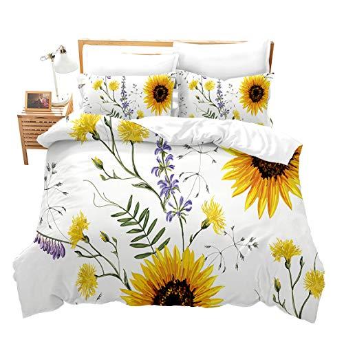 Loussiesd Kinder Mädchen Bettwäsche-Set Sonnenblumen-Bettbezug-Set 200x200 cm 3D-Druck Pastoral Betten Set Blütenblüten Zweige Weiche Mikrofaser mit 2 Kissenbezug 80x80 cm