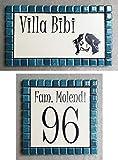 Mosaici Guizzo - Juego de placas de cerámica grabada + marco, color verde oscuro