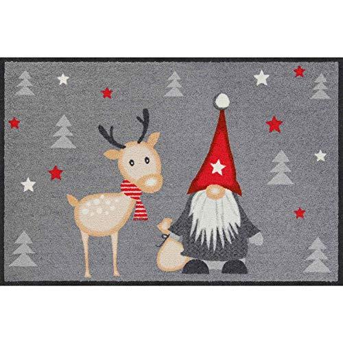 Salonloewe Weihnachten Fußmatte flexibel einsetzbar Wichtel mit Rentier Schmutzfangmatte waschbar + rutschfeste Fussmatte 50x75 cm anthrazit rot