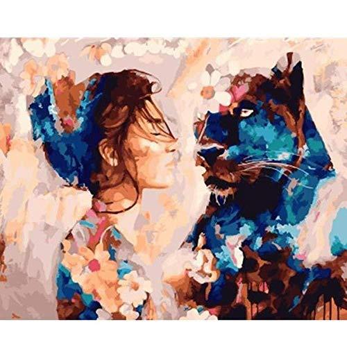 DIY Malen nach Zahlen Erwachsene Kit Malerei Frau mit schwarzem Panther Kits Leinwand Ölgemälde für Kinder Anfänger Home Wohnzimmer Büro Geschenke 16 x 20 Zoll (Mit Rahmen)