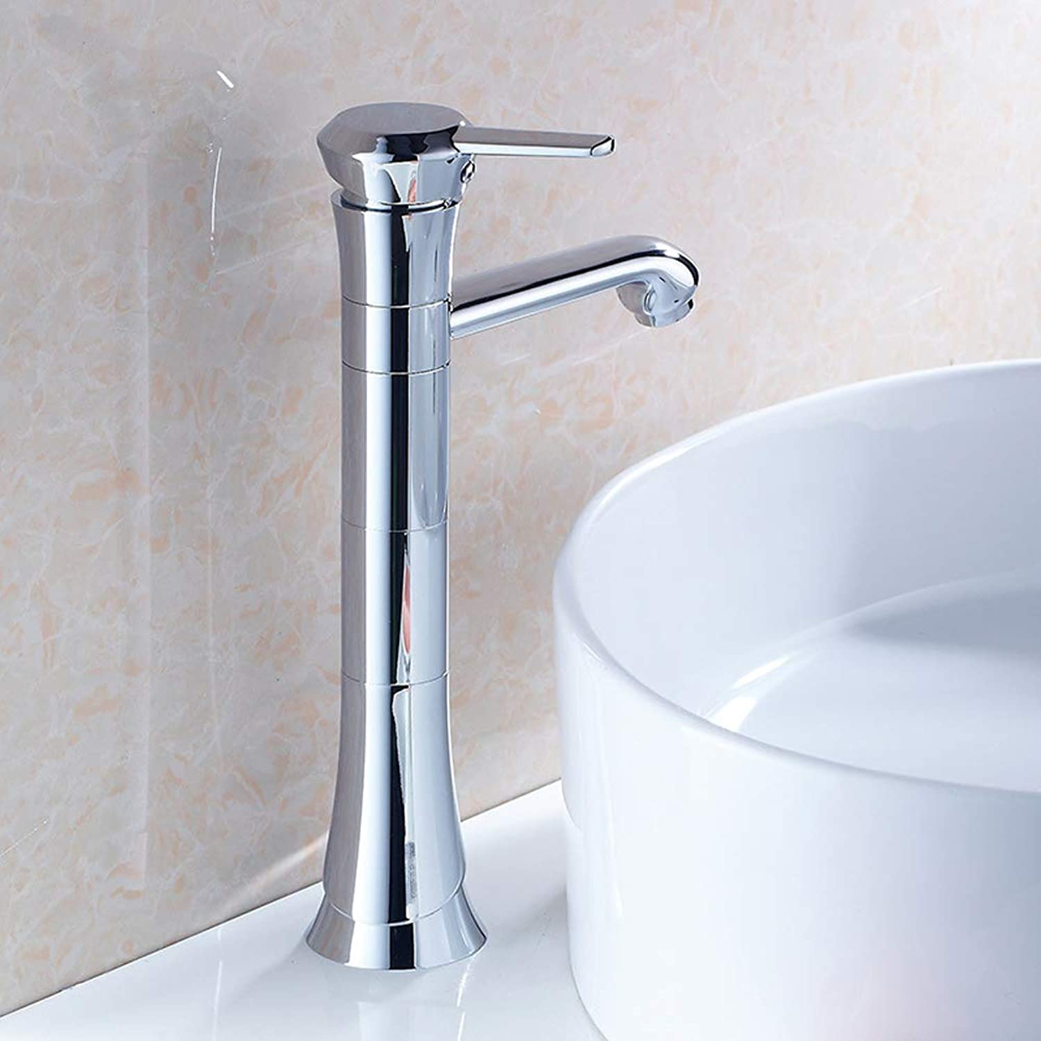 European Style Above Counter Basin Mixer Tap Chrome all Brass Bathroom Sink Hot Cold Taps,SilverFaucet