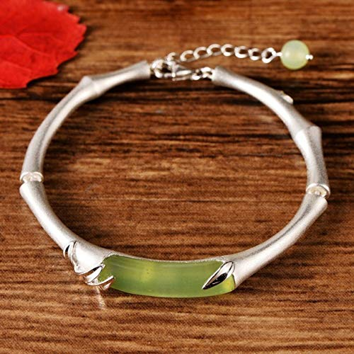 Laogg Armbänder für Damen,S925 Silverware Jade Bamboo Festival Damen Open Silberarmband