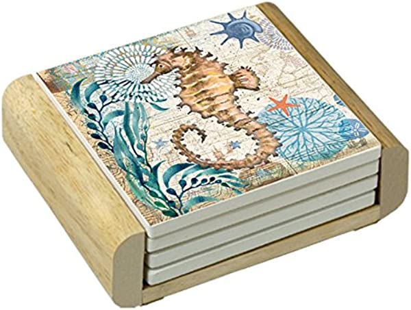 Counter Art Absorbent Coasters Monterey Bay Seahorse In Wooden Holder Set Of 4