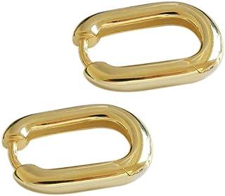 11mm Small Hoop Earrings Sterling Silver for Women Girls Minimalist Oval Tube Round Endless Huggie Hoops Hinged Earring Fa...