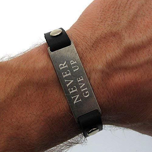 Mens Bracelet Personalized Silver Leather Bracelet for Men